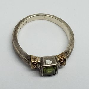 Vintage Jewelry - Peridot 14k Gold Sterling Silver Ring